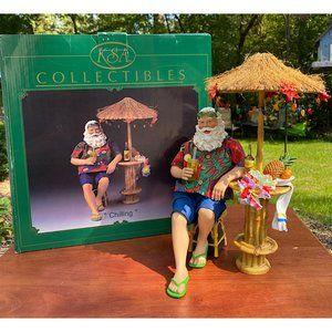"""Kurt Adler Holiday - KSA Kurt Adler Santa """"Chilling"""" Tiki Bar Beach"""